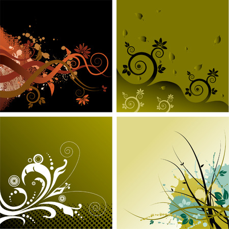 Four abstract floral grunge vector backgrounds Illustration