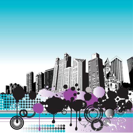 gigantic: Grunge city background Illustration