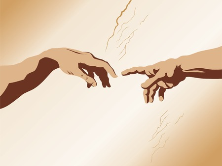 replication: Michaelangelos the creation of Adam recerated in vector form Illustration