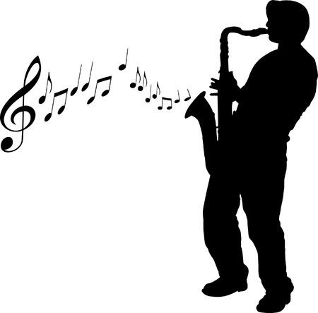 tenore: Un vettore sax giocatore con note di fondo  Vettoriali