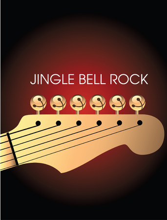 Graphic of bells on guitar to illustrate Jingle Bell Rock Stock Illustratie