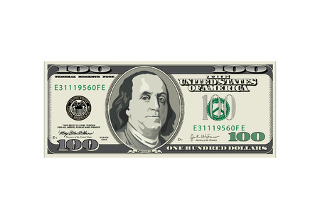 A detailed vector drawing of a one hundred dollar bill