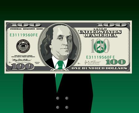 Ben Franklin dans un costume de business encadré par un projet de loi de cent dollars