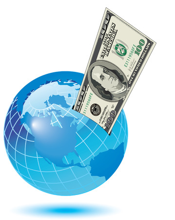 one dollar bill: A one hundred dollar bill sticking out of a slot on the earth