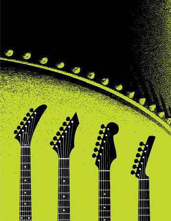 Grunge guitars and music vector background Vector