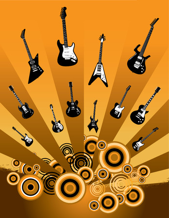 An exciting guitar vector grunge background