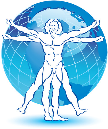 medical drawing: A stylized drawing of vitruvian man with a globe in the background