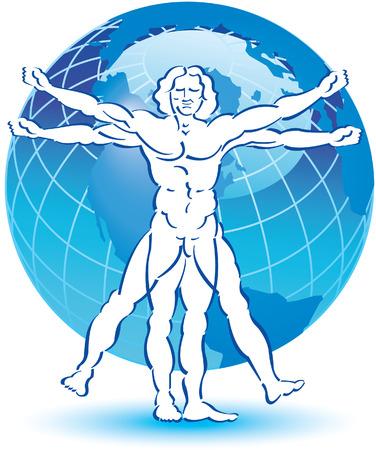 uomo vitruviano: Un disegno stilizzato di Vitruvio uomo con un globo in background Vettoriali