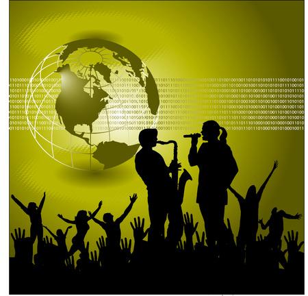 Live muziek met een mondiale vector achtergrond