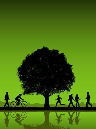 屋外木のベクトルの背景を持つ人々  イラスト・ベクター素材