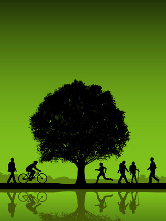 People outdoors with tree vector background