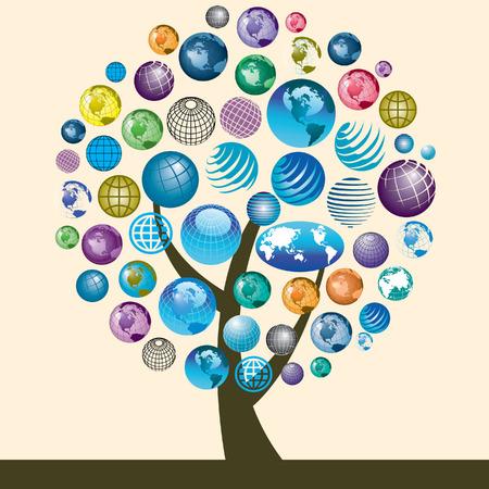 Een verzameling kleurrijke globe pictogrammen op een boom