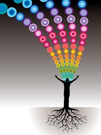 respiration: Ce fond est un homme avec les racines des arbres et une rafale