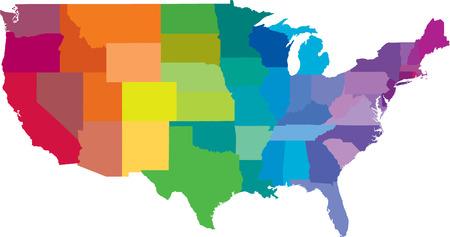 États-Unis d'Amérique en couleurs de l'arc-en tant que fichier vectoriel
