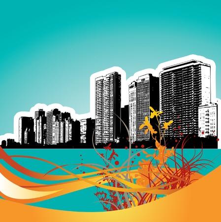 city: city floral grunge Illustration