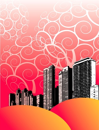 hill distant: Illustration of grunge city buildings on fancy red background