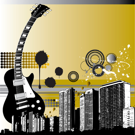 Guitar and grunge city skyline graphic. Vector