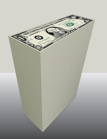 accumulate: Stack of One dollar Bills Illustration