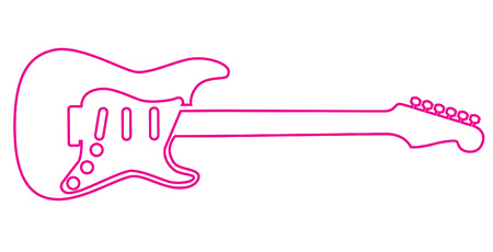One line draws an electric guitar