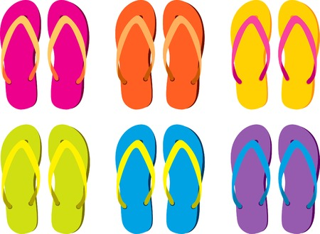 flip flops: six pairs of colorful flip flops