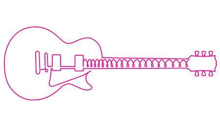 One line draws an electric guitar Vector