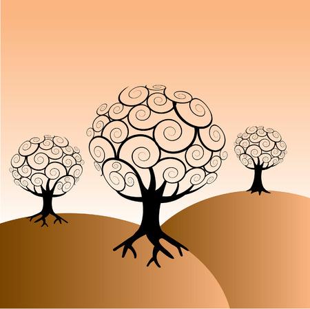 テキストの背景領域とツリーの背景色  イラスト・ベクター素材