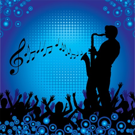 A sax player performs for an audience