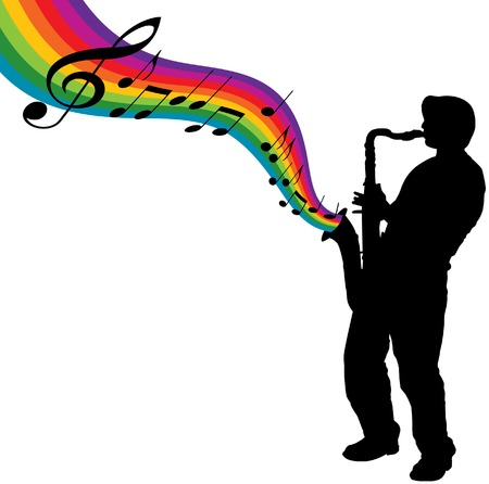 Een sax speler maakt een regenboog van muziek