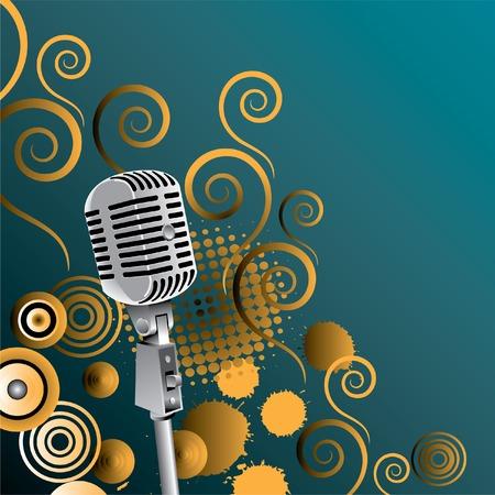 Een vintage microfoon vector met een etherische achtergrond