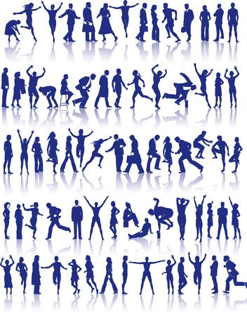 73 vector silhouettes of people in a variety of activities