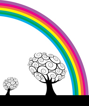 A colorful rainbow frames a bare tree Stock Vector - 4063139