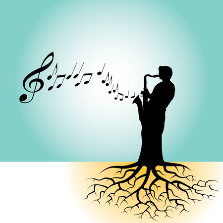 sax: This vector background has a sax player with tree roots