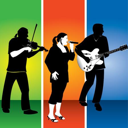 Three musicians banner Vector