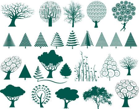 다양한 스타일의 27 가지 벡터 나무 선택