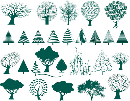 choice of 27 vector trees in a variety of styles Vector