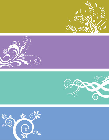 An array of abstract floral web banners