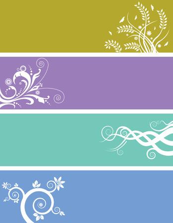 Een array van abstracte florale web banners Stock Illustratie
