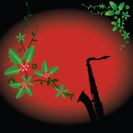 A holiday background with a sax with Christmas holly coming out of it