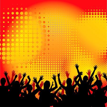 popular music concert: Le persone a un concerto che si divertono di sfondo Vettoriali