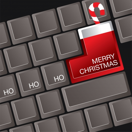 A computer keyboard where the return key is a Christmas stocking
