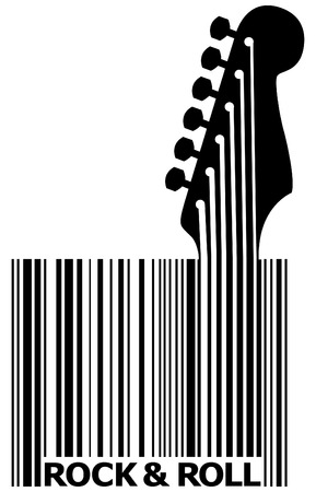 A UPC bar code that's also a guitar with space for text Ilustração