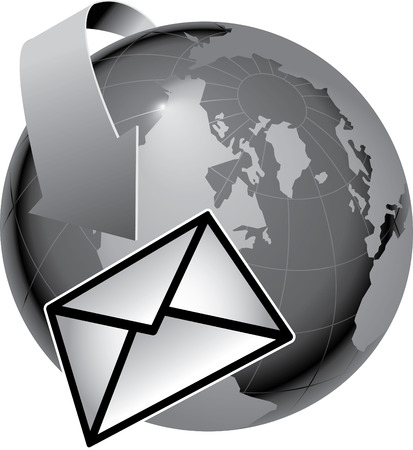 A black & white vector depiction of how email encircles the earth