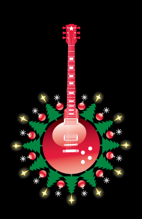 A Christmas guitar vector background with space for text Illustration
