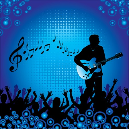 A background with people at a concert enjoying themselves listening to a guitar player