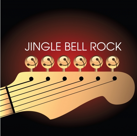 Graphic of bells on guitar to illustrate Jingle Bell Rock. Space for text Çizim