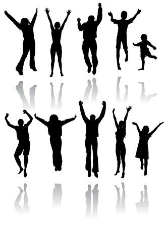 以下の反射と喜びのためにジャンプの人々 の 10 のシルエット