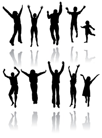 Ten silhouettes of people jumping for joy with reflections below