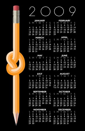 knotted: A 2009 Knotted Pencil Calendar Illustration