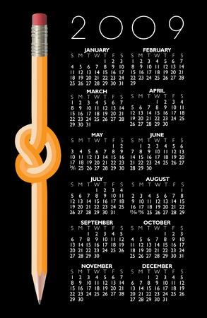 A 2009 Knotted Pencil Calendar Illustration