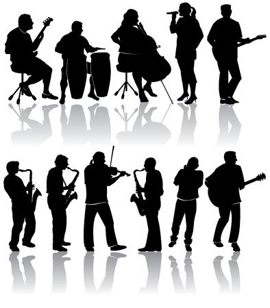 11 Musician Silhouettes Stock Vector - 4063208